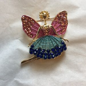 Beautifully jeweled ballerina, swinging leg brooch